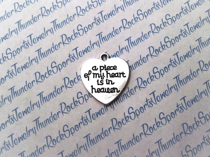 A Piece of My Heart is in Heaven Silver Pendant Charm