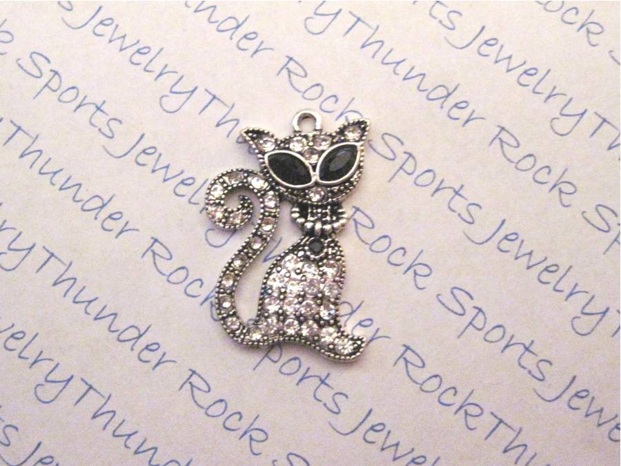 Cat Charm Crystal Silver Pendant