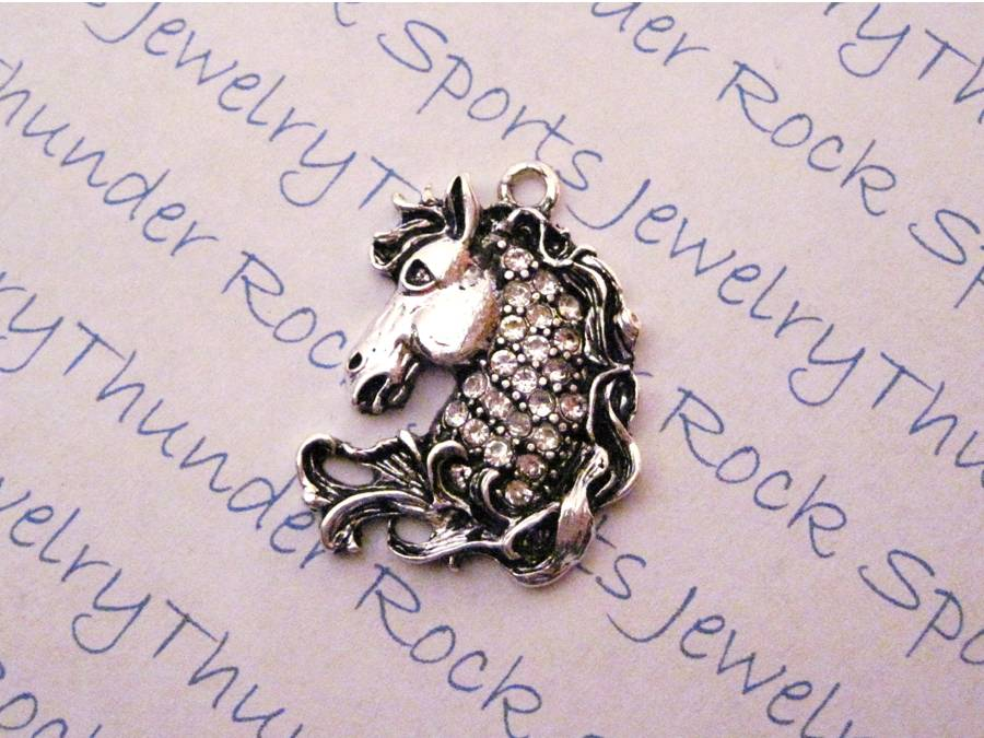3 Horse Head Charms Crystal Silver Pendants