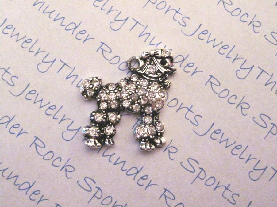 Poodle Charm Crystal Silver Pendant