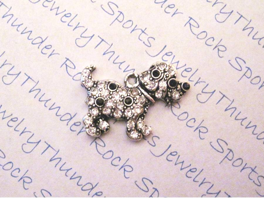 Spotted Puppy Dog Charm Crystal Silver Pendant