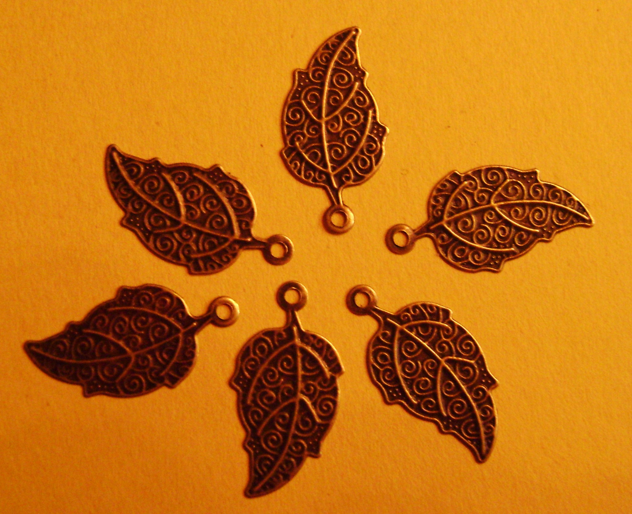 100 Antique Bronze Leaf Bead Wraps or Pendants