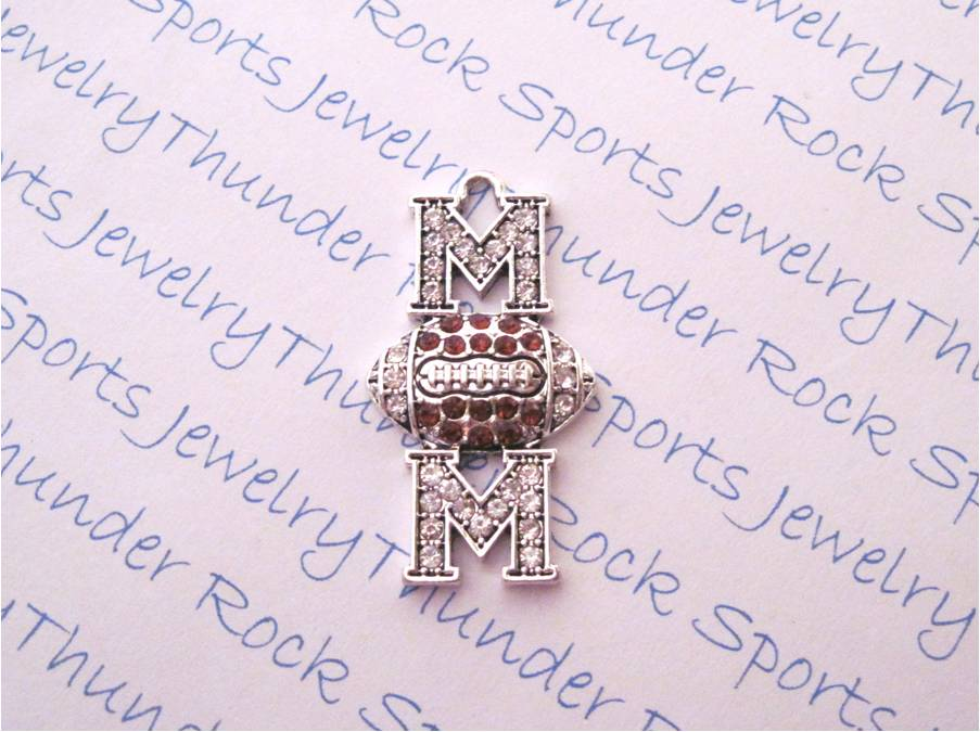 3 Football Mom Charms Crystal Silver Pendants