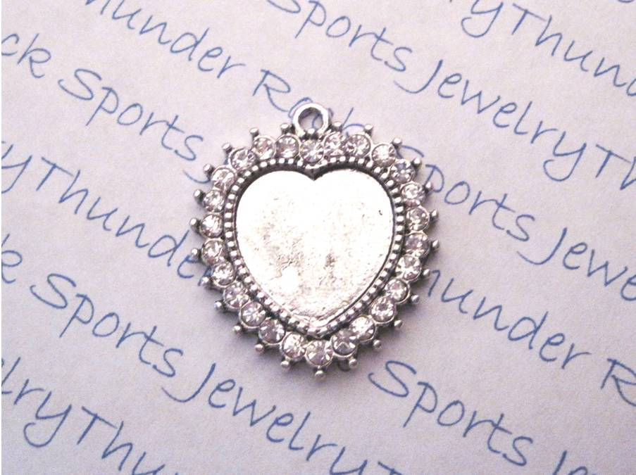 3 Antique Silver Heart Pendant Blanks with Crystal Bezel