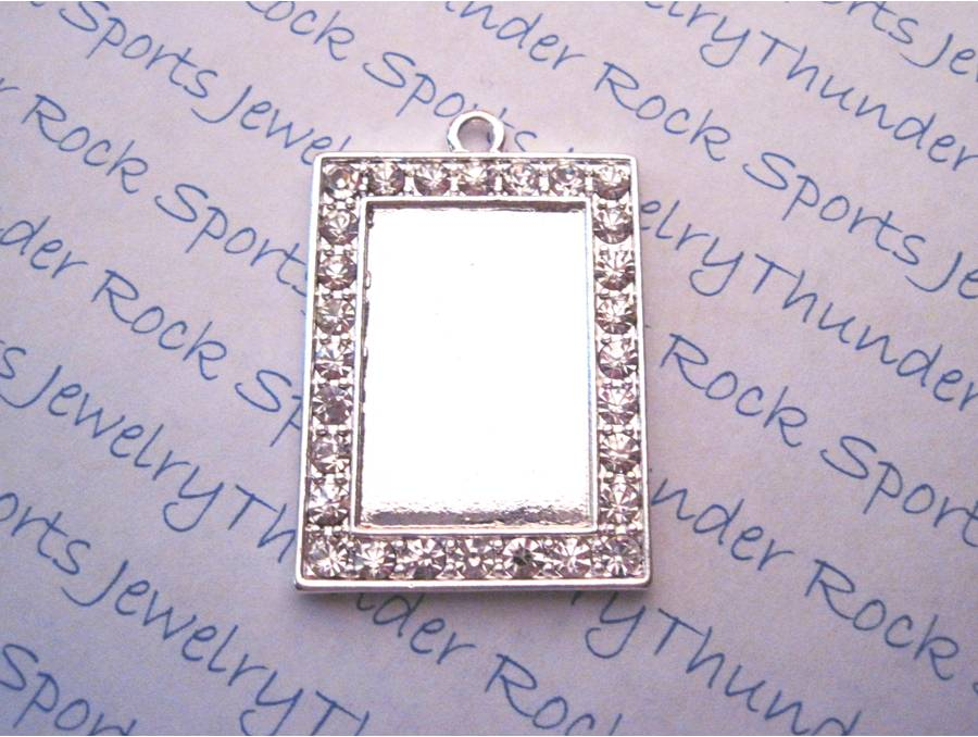 Silver Plated Rectangle Pendant Blank with Crystal Framed Bezel