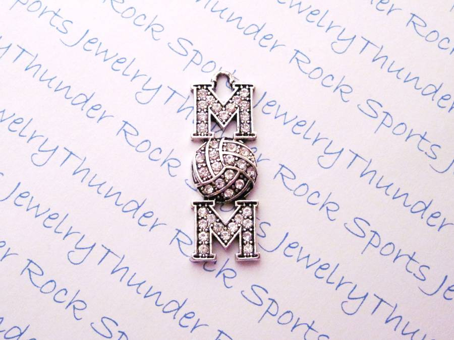 3 Volleyball Mom Charms Crystal Silver Pendants