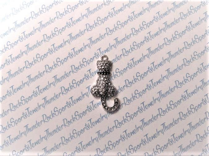 Kitty Cat Charm Crystal Silver Pendant