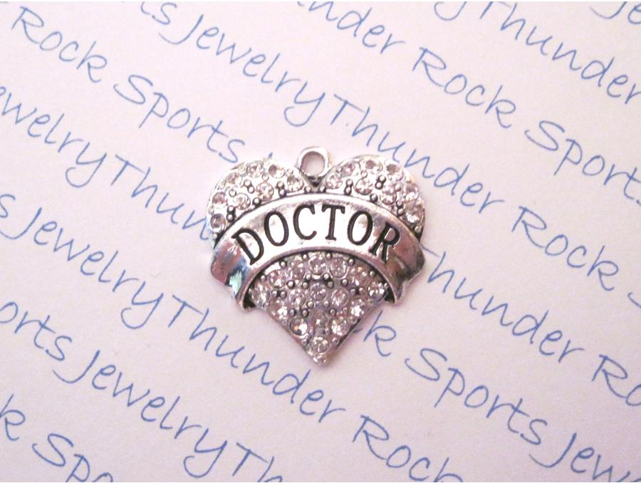 Doctor Charm Crystal Silver Heart Pendant