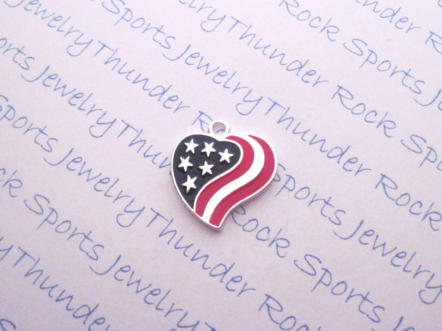 Antique Silver American Flag Heart Pendant Charm