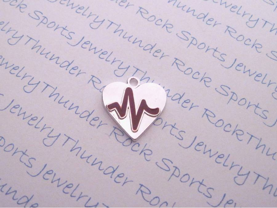 Antique Silver Heartbeat Medical Doctor or Nurse Heart Charm