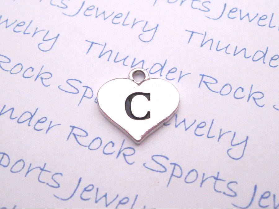 Stamped Initial C Alphabet Heart Charm