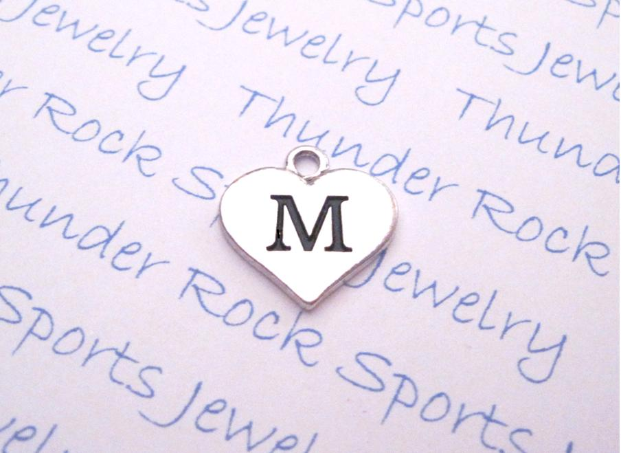 3 Initial M Alphabet Silver Heart Charms Pendants
