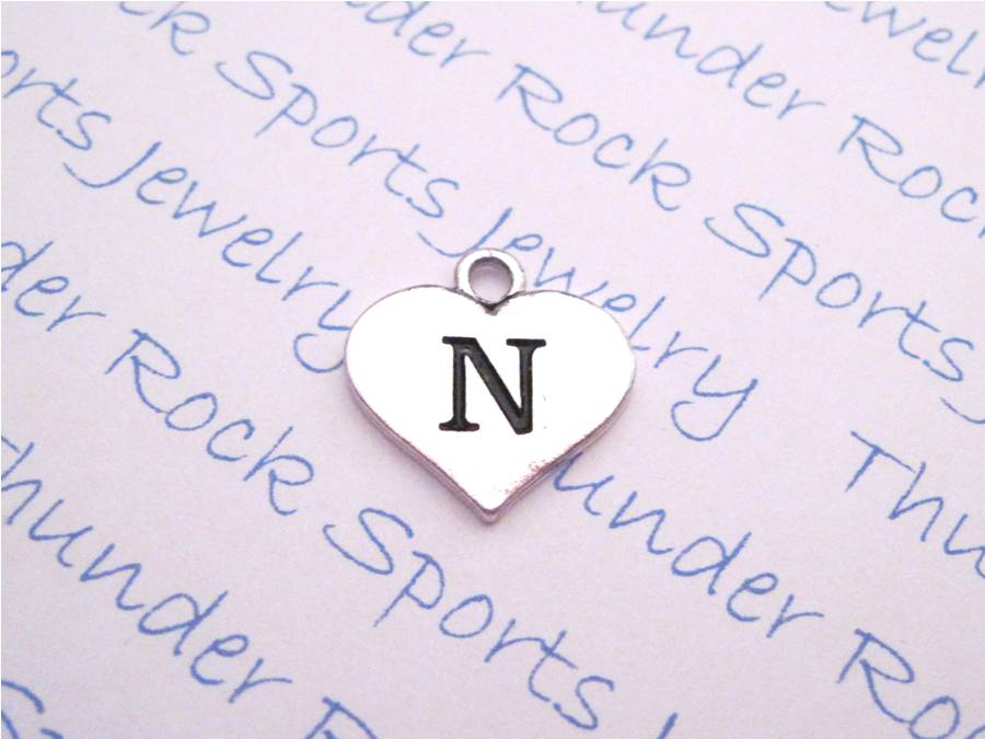 3 Initial N Alphabet Silver Heart Charms Pendants