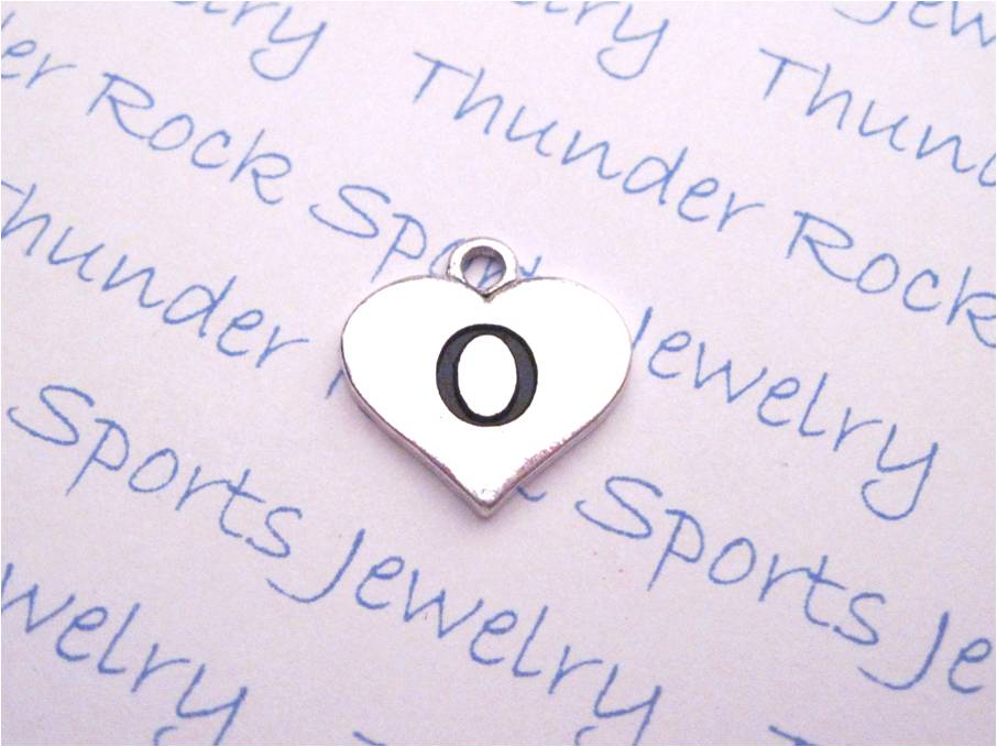 3 Initial O Alphabet Silver Heart Charms Pendants