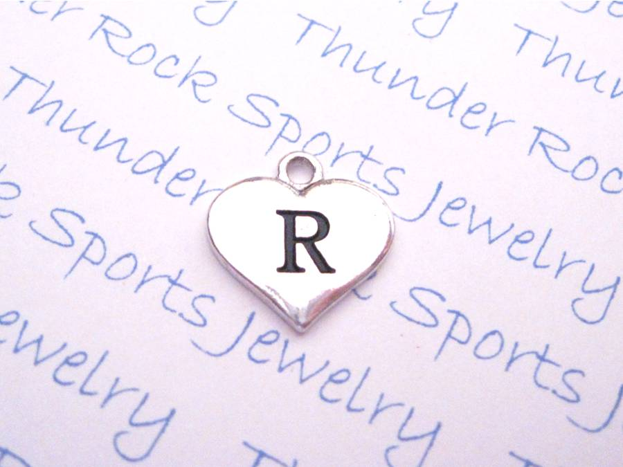 3 Initial R Alphabet Silver Heart Charms Pendants