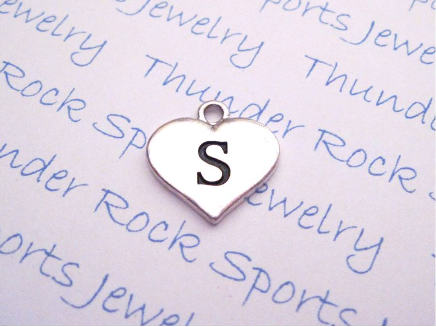 3 Initial S Alphabet Silver Heart Charms Pendants