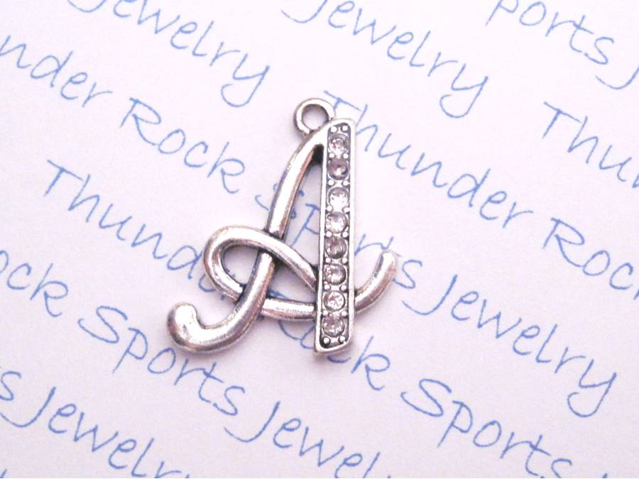 Letter A Crystal Alphabet Silver Pendant