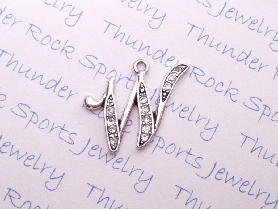 Letter W Crystal Alphabet Silver Pendant