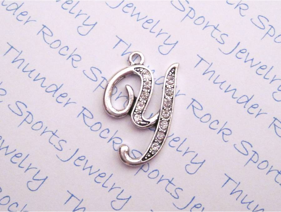 Letter Y Crystal Alphabet Silver Pendant
