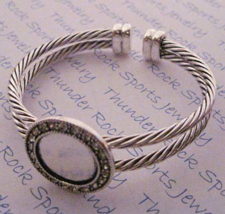 Silver Plated Flexible Cuff Bracelet Blank with Round Bezel