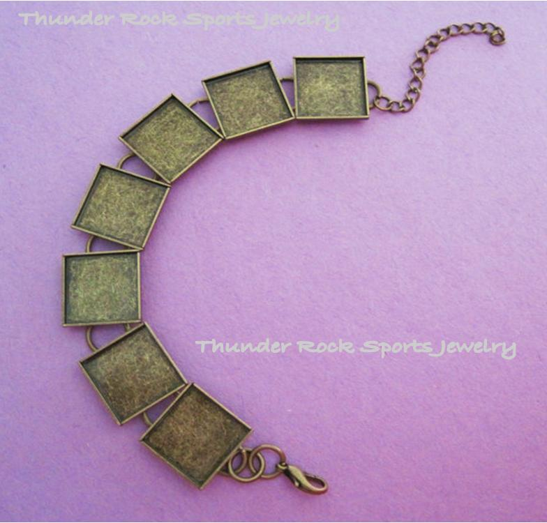 Bronze Bracelet Blank with Square Bezels