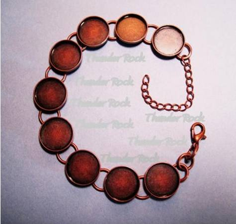 Copper Plated Bracelet Blank with Round Bezels