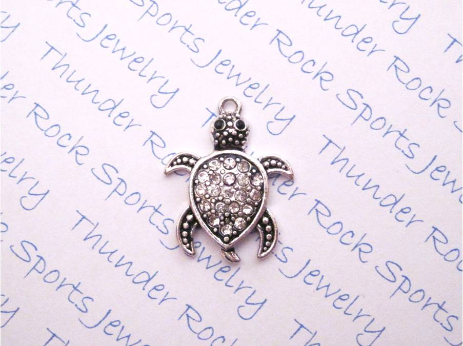3 Turtle Charms Crystal Silver Pendants